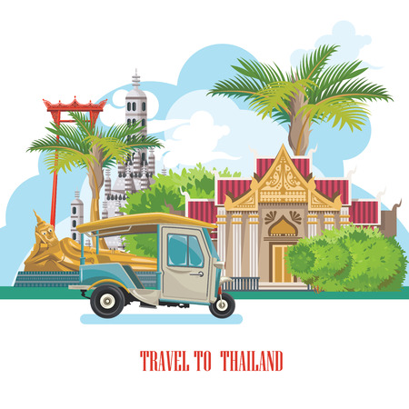 Travel Thailand landmarks. Thai vector icons. Vacations poster with thai ethnic elements Zdjęcie Seryjne - 61589358
