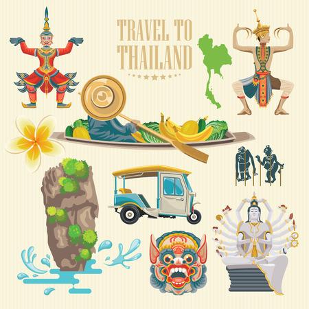 Voyage repères Thaïlande. icônes vectorielles thaïlandais. poster Vacances avec des éléments ethniques thai