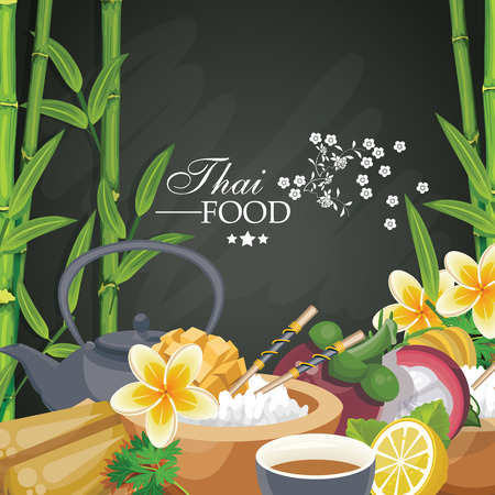 South East Asian prepared food. Thai cuisine. Ethnic meal of Thailand for menu Illustration