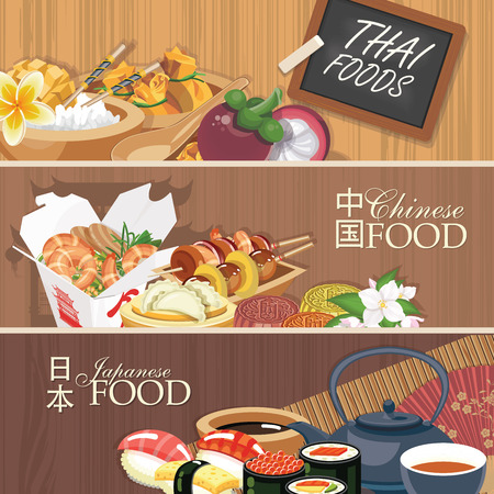 crab meat: Asian food poster. Traditional national dishes on a wooden background. Vector illustration.  Asian cuisine