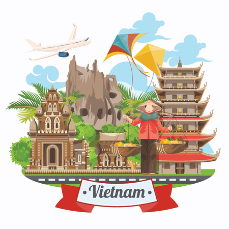 Travel to Vietnam. Set of traditional Vietnamese cultural symbols. Vietnamese landmarks and lifestyle of Vietnamese people Vectores