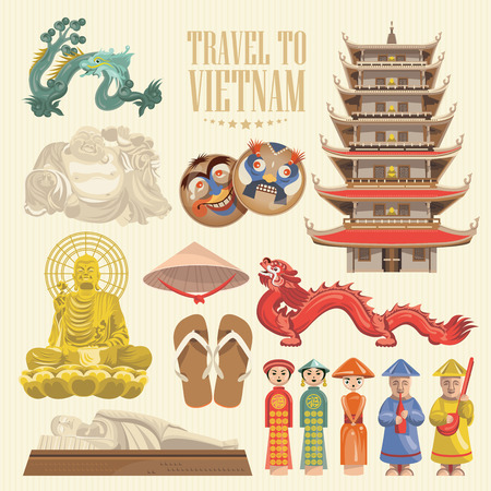 Travel to Vietnam. Set of traditional Vietnamese cultural symbols. Vietnamese landmarks and lifestyle of Vietnamese people 向量圖像