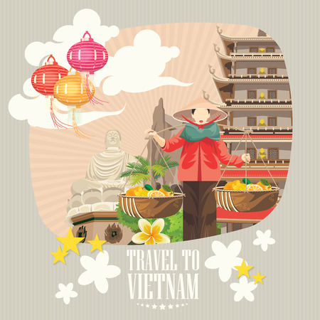 Travel to Vietnam. Set of traditional Vietnamese cultural symbols. Vietnamese landmarks and lifestyle of Vietnamese people Vettoriali