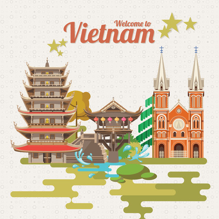 Travel to Vietnam. Set of traditional Vietnamese cultural symbols. Vietnamese landmarks and lifestyle of Vietnamese people  イラスト・ベクター素材