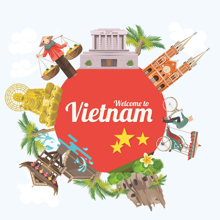 Travel to Vietnam. Set of traditional Vietnamese cultural symbols. Vietnamese landmarks and lifestyle of Vietnamese people Ilustrace