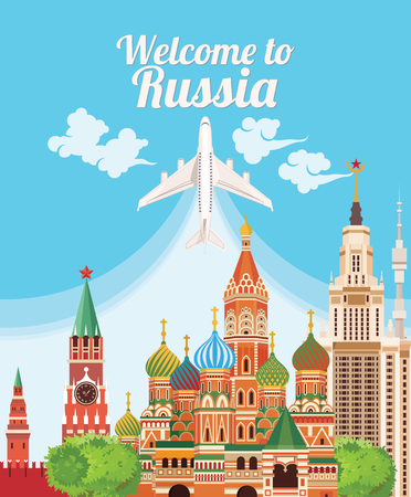 Welcome to Russia. Travel Russian landmarks. Russian icons. Travel concept. Traveling design