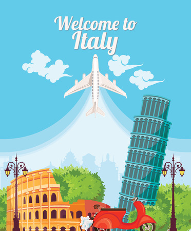 Welcome to Italy. Travel Italian landmarks. Illustration