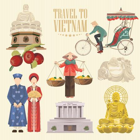 ベトナムへの旅行します。伝統的なベトナム文化のシンボルのセットです。ベトナムのランドマークとベトナムの人々 のライフ スタイル