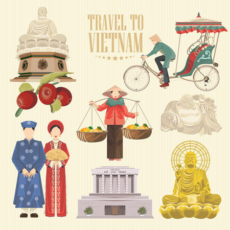Travel to Vietnam. Set of traditional Vietnamese cultural symbols. Vietnamese landmarks and lifestyle of Vietnamese people Ilustracja