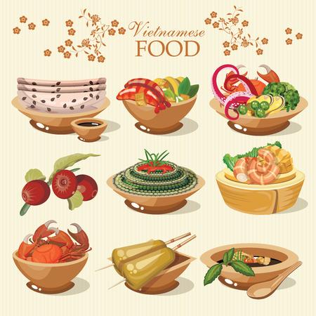 Conjunto de comida vietnamita popular para el menú del restaurante