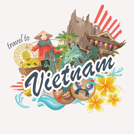 chi: Travel to Vietnam. Set of traditional Vietnamese cultural symbols. Vietnamese landmarks and lifestyle of Vietnamese people Illustration