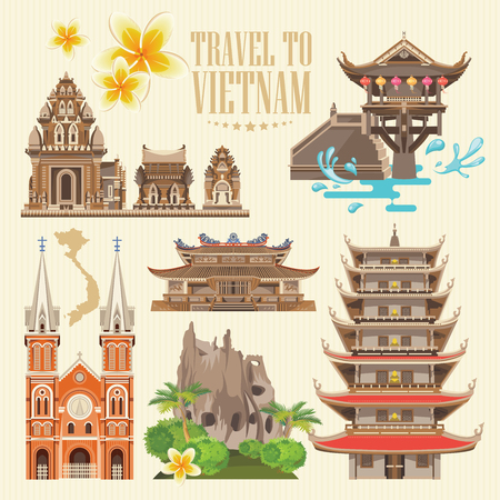 Travel to Vietnam. Set of traditional Vietnamese cultural symbols. Vietnamese landmarks and lifestyle of Vietnamese people Illustration