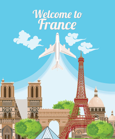 french culture: Welcome to France. Travel French landmarks. French icons. Travel France panorama background Illustration