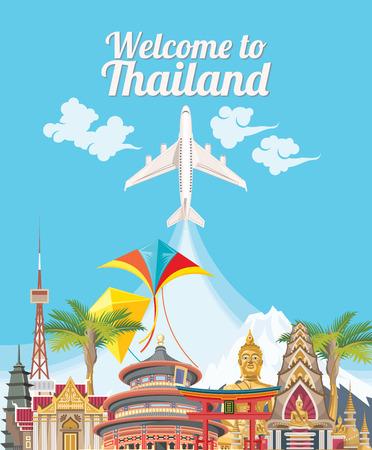 Welcome to Thailand. Travel Thailand landmarks. Thai icons.