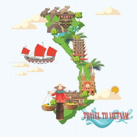 Travel to Vietnam. Set of traditional Vietnamese cultural symbols. Vietnamese landmarks and lifestyle of Vietnamese people 일러스트