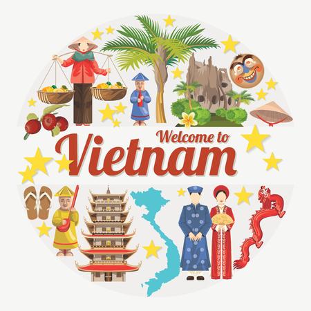 베트남에 여행. 베트남 전통 문화 기호. 베트남어 랜드 마크 베트남 사람들의 라이프 스타일 일러스트