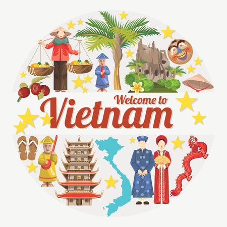 Travel to Vietnam. Set of traditional Vietnamese cultural symbols. Vietnamese landmarks and lifestyle of Vietnamese people Illusztráció