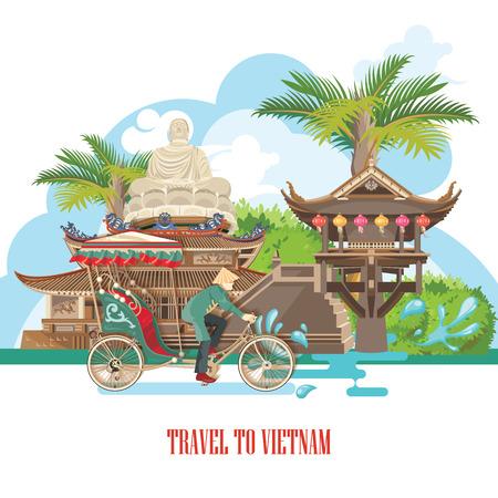 Travel to Vietnam. Set of traditional Vietnamese cultural symbols. Vietnamese landmarks and lifestyle of Vietnamese people Illustration