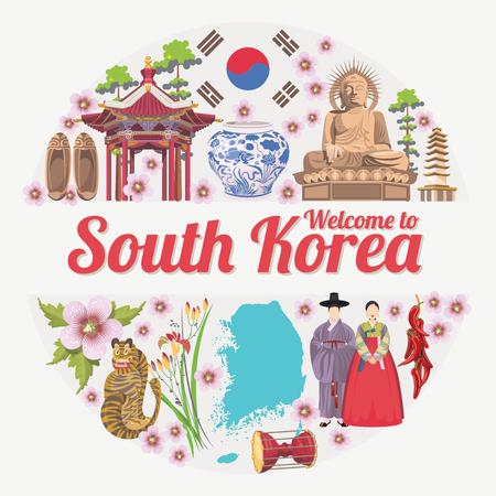 reizen Zuid-Korea poster met pagodes en traditionele borden. Korea Journey kaart met koreaanse objecten Stock Illustratie