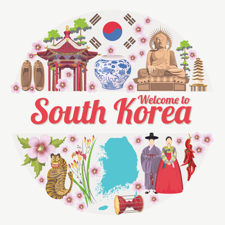 South Korea travel poster with pagodas and traditional signs. Korea Journey card with korean objects Ilustração