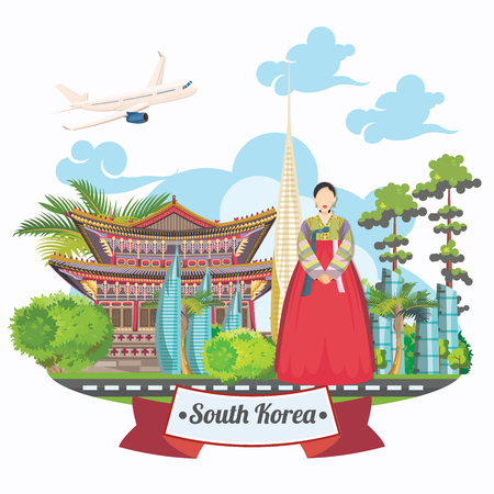 South Korea travel poster with pagodas and traditional signs. Korea Journey card with korean objects Vectores