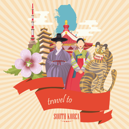 South Korea travel poster with pagodas and traditional signs. Korea Journey card with korean objects Çizim