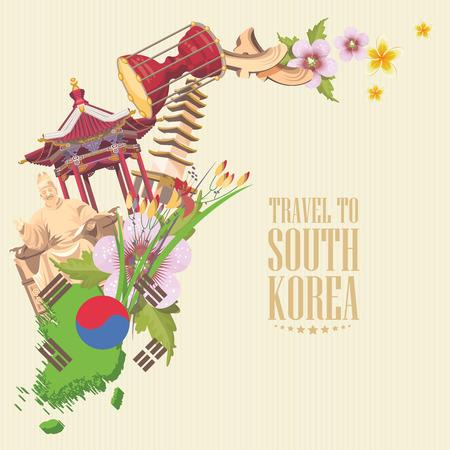 旅遊: 韓國旅遊與佛塔和傳統標誌的海報。韓國之旅卡與韓國的對象