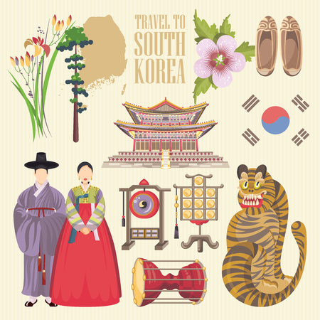 Südkorea-Reise-Plakat mit Pagoden und traditionellen Zeichen. Korea Reise-Karte mit der koreanischen Objekte Standard-Bild - 63585868