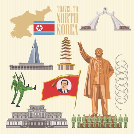 North Korea poster with korean symbols. North Korea vector illustration. Vettoriali