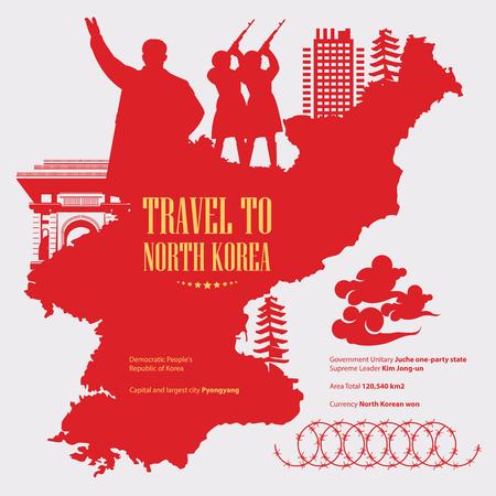 North Korea poster with korean symbols. North Korea vector illustration.