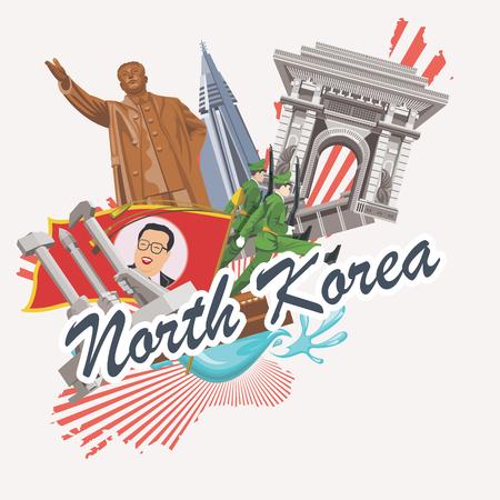 pyongyang: North Korea poster with korean symbols. North Korea vector illustration. Illustration