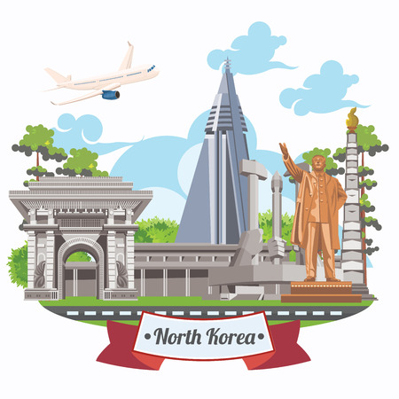 North Korea poster with korean symbols. North Korea vector illustration. 矢量图像