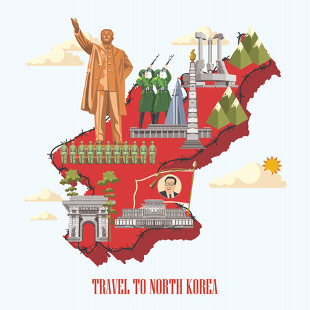 North Korea poster with korean symbols. North Korea vector illustration. Çizim