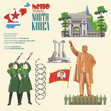 North Korea poster with korean symbols. North Korea vector illustration. Vetores