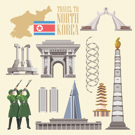 North Korea poster with korean symbols. North Korea vector illustration. Illustration