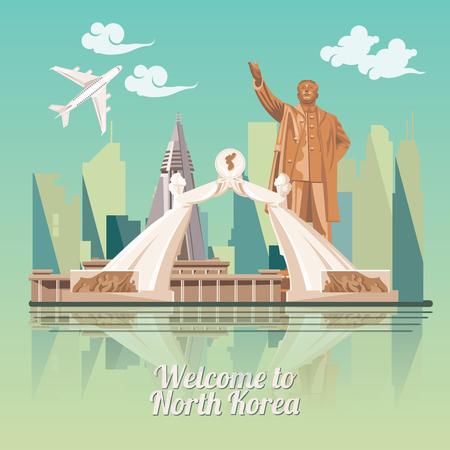 Poster Noord-Korea met Korean symbolen. Noord-Korea vector illustratie. Stockfoto - 68882179