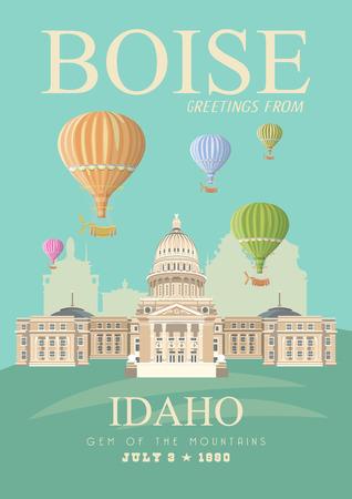 アイダホのベクトルの旅行のポスター。アメリカ合衆国のカード。アメリカ バナー