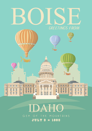 Idaho vector travel poster. United States of America card. USA banner 向量圖像