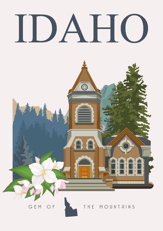 Idaho vector travel poster. United States of America card. USA banner Illustration
