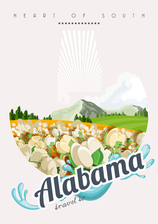 birmingham: Alabama vector poster with american theme. Unites States of America card. USA travel banner