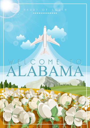 Alabama Vector del cartel con el tema americano. Une Unidos de América tarjeta. banner de viajes EE.UU. Ilustración de vector