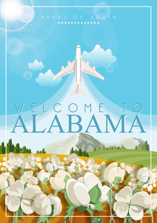 Alabama vector poster with american theme. Unites States of America card. USA travel banner