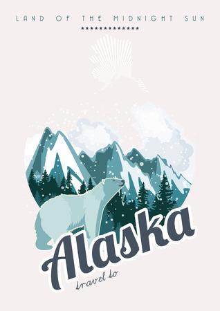 アメリカをテーマにしたアラスカ ベクトル ポスター。アメリカのカードを結合します。アメリカ旅行のバナー