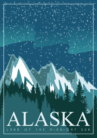 Alaska vector poster with american theme. Unites States of America card. USA travel banner Çizim