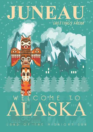 Alaska vector poster with american theme. Unites States of America card. USA travel banner 版權商用圖片 - 68504013