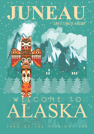 Alaska vector poster with american theme. Unites States of America card. USA travel banner Illustration