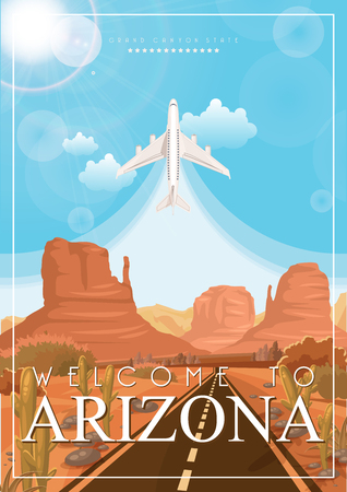 Arizona vector poster with american theme. Unites States of America card. USA travel banner