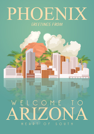 phoenix arizona: Arizona, Phoenix vector poster with american theme. Unites States of America card. USA travel banner