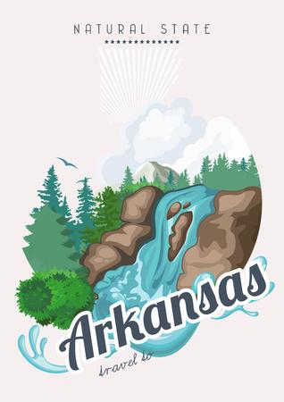 river rock: Arkansas american vector poster. USA banner. United States of America theme Illustration