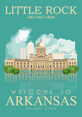 american cities: Arkansas american vector poster. USA banner. United States of America theme Illustration